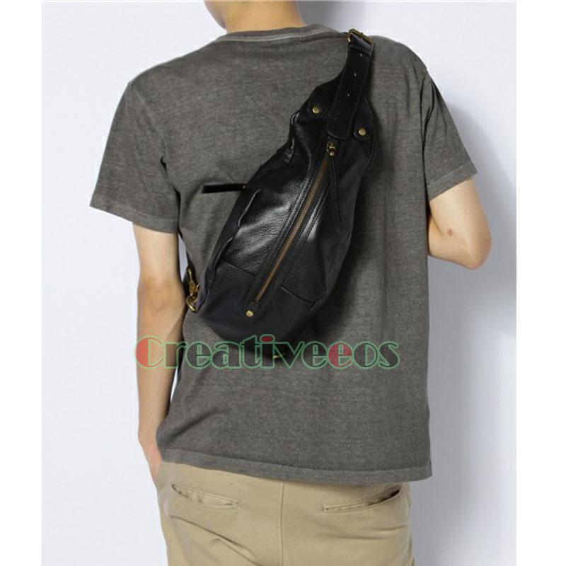 New Korean Men PU Leather Dumpling Travel Hiking Riding Cross Body Messenger Shoulder Sling Back Pack Chest Bag(China (Mainland))