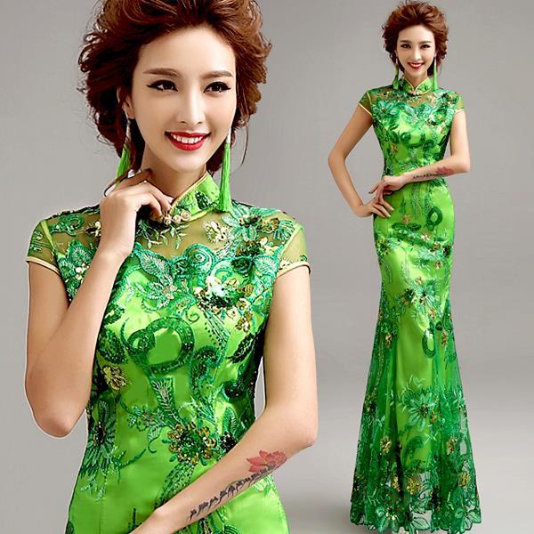 Green Vintage Fashion Evening dress Short sleeve long cheongsam dress chinese traditional dress qipao evening dresses gown(China (Mainland))