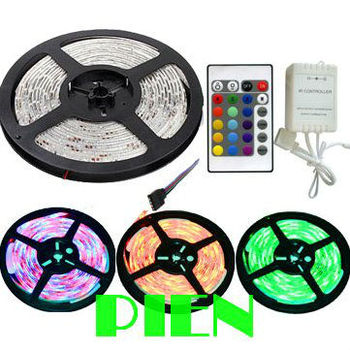 RGB led strip light 3528 smd 5 m fita de tape ruban Waterproof IP65 tiras 12V white blue green with remote control Free shipping