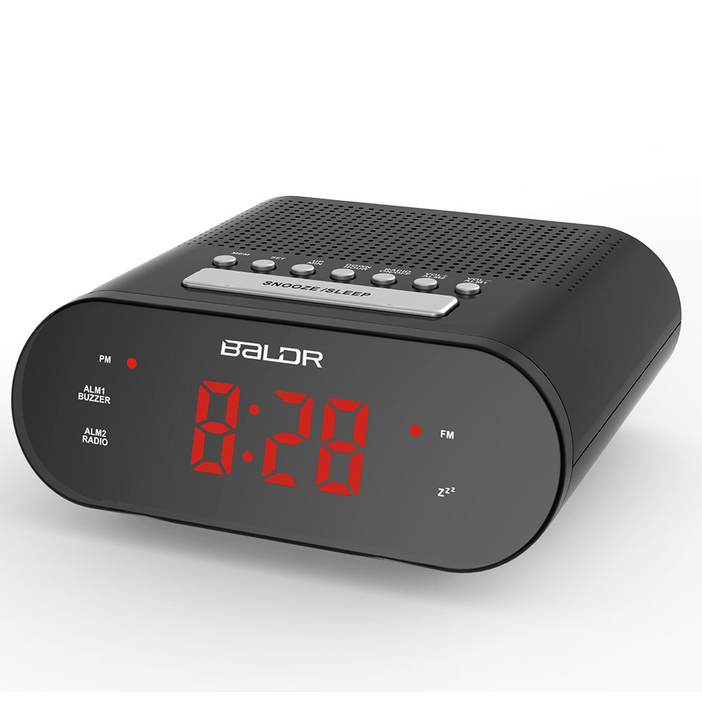 baldr led digital radio controlled alarm clock fm button clock red buzzer snooze tabletop watch. Black Bedroom Furniture Sets. Home Design Ideas