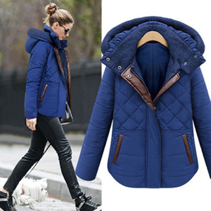 New Casual Women Winter Jackets Thicken Coat Padded Cotton Outwear Female Parkas Ladies Hooded Spliced Overcoat Plus Size  LQ043Одежда и ак�е��уары<br><br><br>Aliexpress