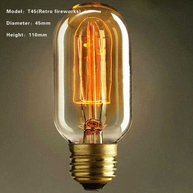 Free Shipping Retro DIY E27 Spiral Incandescent Light Handmade Fixtures Glass Edison Bulb 40W 110-240V Pendant Lamps T45(China (Mainland))
