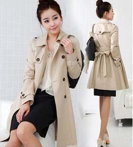 Fashion Slim Double Breasted Trench Coat For Women, Black/Beige Windbreaker With Belt