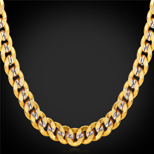 2016 HipHop Gold Chains For Men 9MM Jewelry Platinum & 18K Real Gold Two-tone Plated Big Chunky Necklaces Cuban Link Chain N1949(China (Mainland))