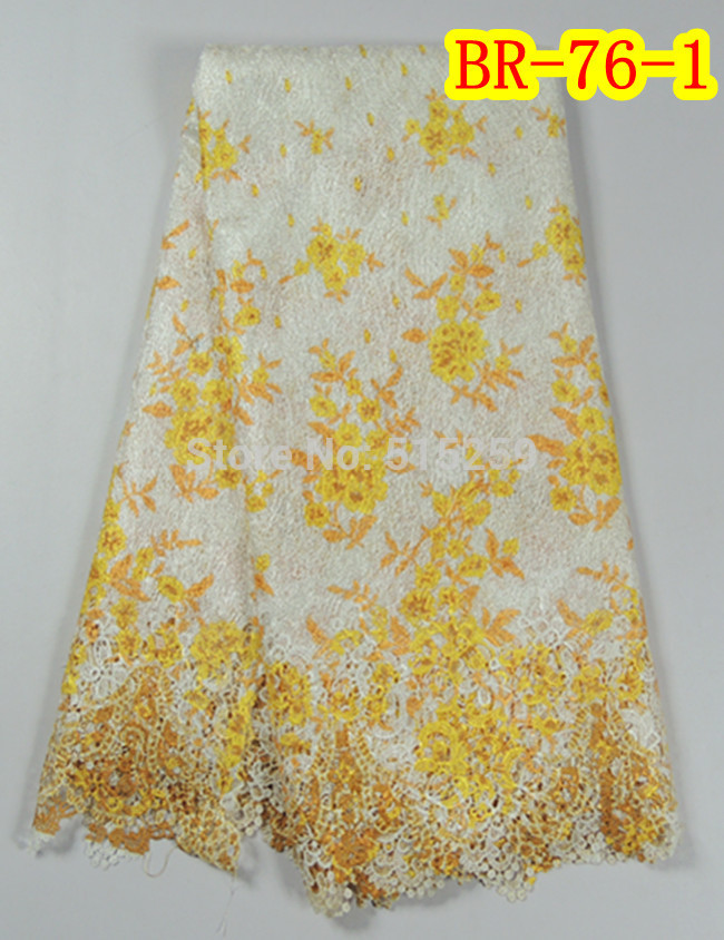In stock Item high quality Cupion Guipure Lace Fabric 5 Yards pe piece BR-76-1(China (Mainland))