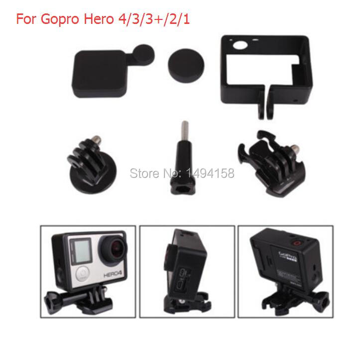 Go pro Accessories Plastic Fixed Frame Side Border Standard Frame +Gopro Mount +Camera Lens Cap Cover for GoPro HD Hero 4 3 3+(China (Mainland))