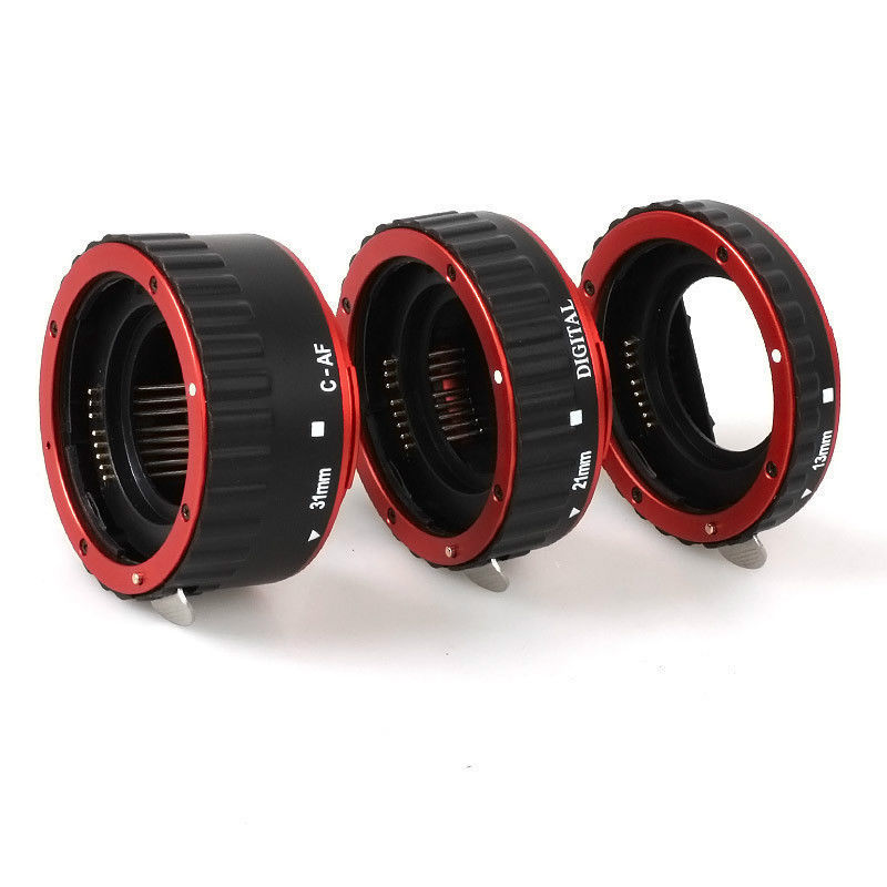 Red Metal Mount Auto Focus AF Macro Extension Tube Ring for Kenko Canon EF S Lens