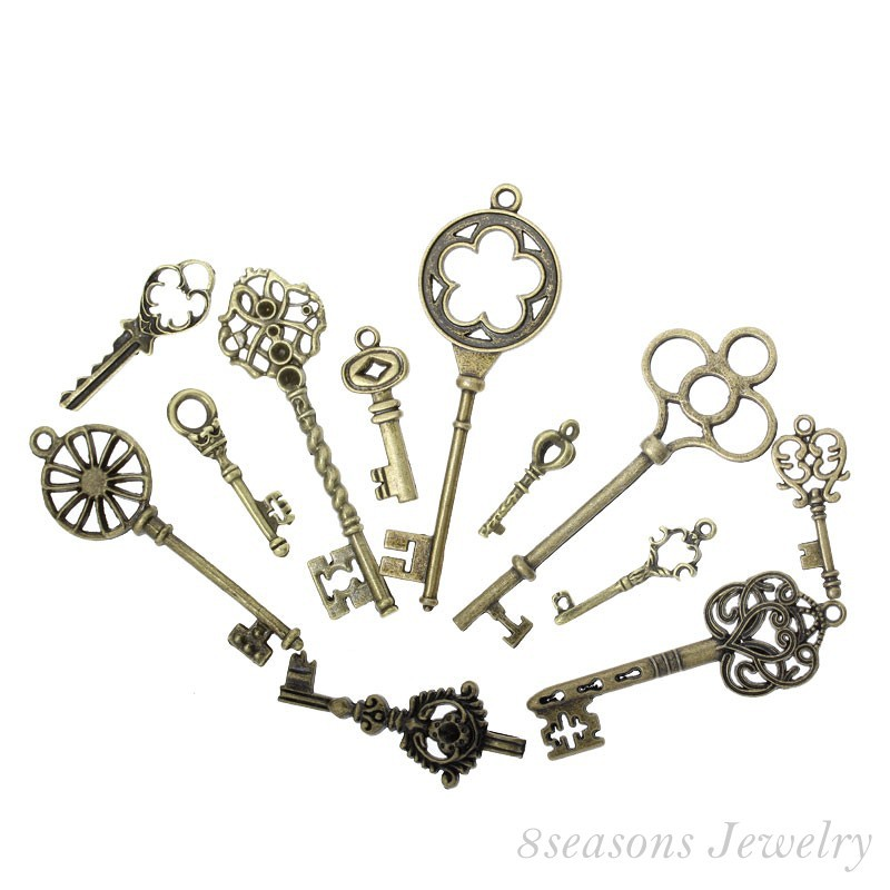 Mixed Antique Bronze Key Charms Pendants 33x13mm-69x20mm, sold per lot of 24(B13922)8seasons(China (Mainland))
