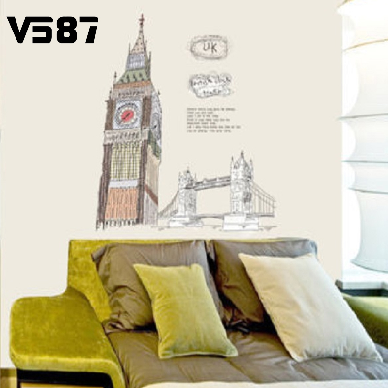 Cre-ative Design London Bell Towel Wall Sticker PVC Removable Modern Romantic Home Room Decorative 60x90 cm(China (Mainland))