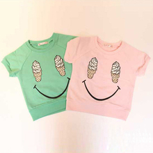 Kids Girls Short Sleeve T shirts Ice Cream Smile Casual Tops Cotton Costume 1 5Y