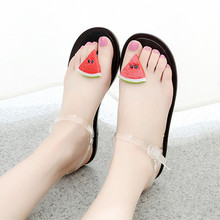 Sweet clip toe flat sandals, prevent slippery slipper transparent fruit jelly slippers shoes fashion sexy(China (Mainland))
