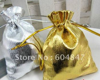 100pcs GOLD & SILVER Gift Jewelry Bags / Pouch Wedding Favor 7X9CM