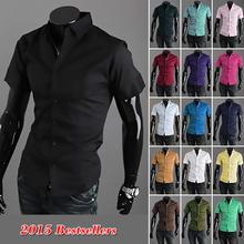 Hot Sales Free Shipping 2015New fashion Men s casual short sleeve shirt male slim fit stylish
