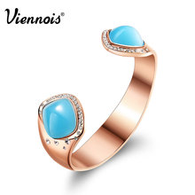 2015 Hot Spring Summer Viennois Jewelry Collection Sea Blue Resin and Rose Gold Metal Alloy Bracelet & Bangles for Women(China (Mainland))