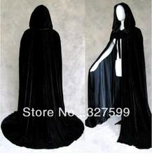 Черный бархат черный атлас с подкладкой закрытый воротник вампира мыс хэллоуин ну вечеринку плащ размер M-XXL