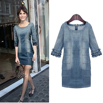 High Street New European 2014 Summer Autumn Womens Dresses Fashion Celebrity Girls Vintage Jeans Denim Dress - Top NO.1 store