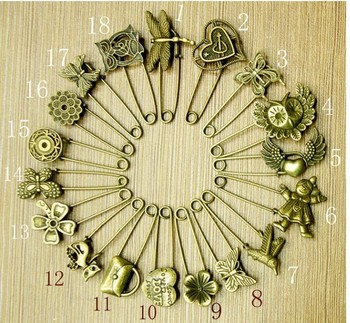 Wholesale 20pcs/lot Elegant Bronze Vintage Woman Kilt Pin Jewelry Brooch Charms Rose/Cat/Heart