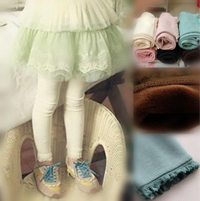 Бесплатная доставка 2015 Новые Зимние Детские Девушки Сплошной Цвет Lgeeings, детские ребенка шерстяные теплые Леггинсы, леггинсы для девочек