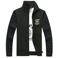 Mens Stand Collar Knitted Sweater Cardigan Spell Color Stripe Sleeve Casual Jacket Coat Sweater Men s