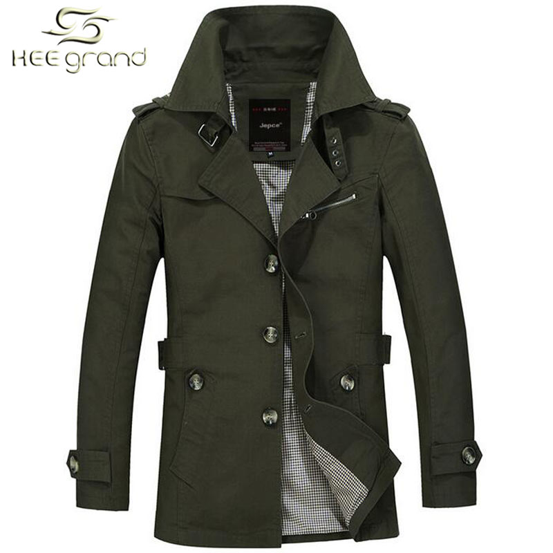 Men's Trench Coats Hot Sale Slim Fit Trench Coat Spring Autumn Casual Turn-Down Collar Outdoor Jacket M-5XL Size 4 Colors MWF211