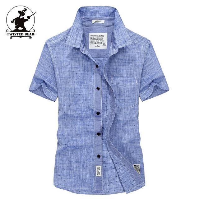 Высокое качество Бренда мужская Повседневная Рубашка Летняя Мода Оксфорд 100% Хлопок ...