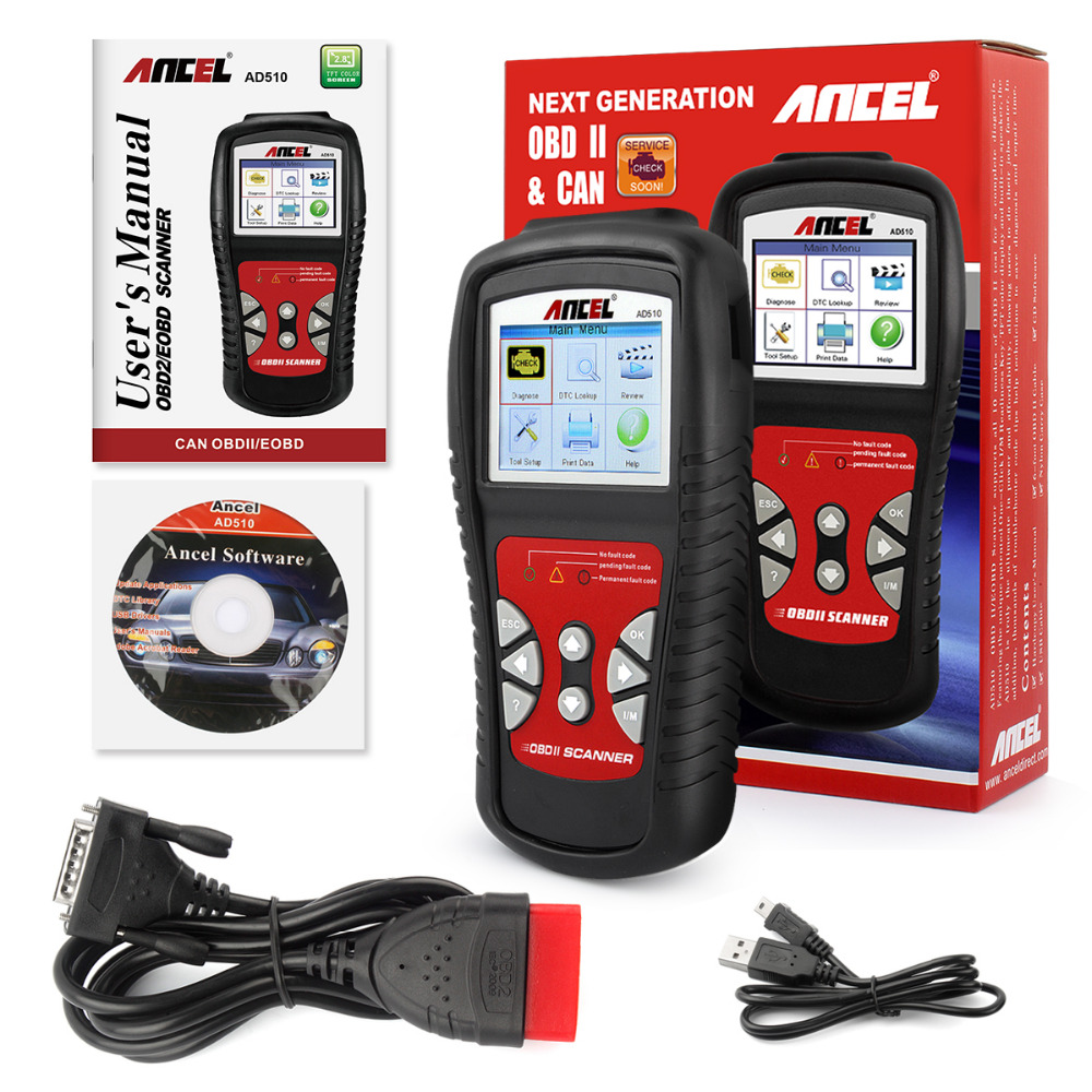 Car Code Reader CAN BUS OBD 2 OBDII code readers scan tools ancel ad510 obd-ii scan tool car automotive scanner diagnostic(China (Mainland))