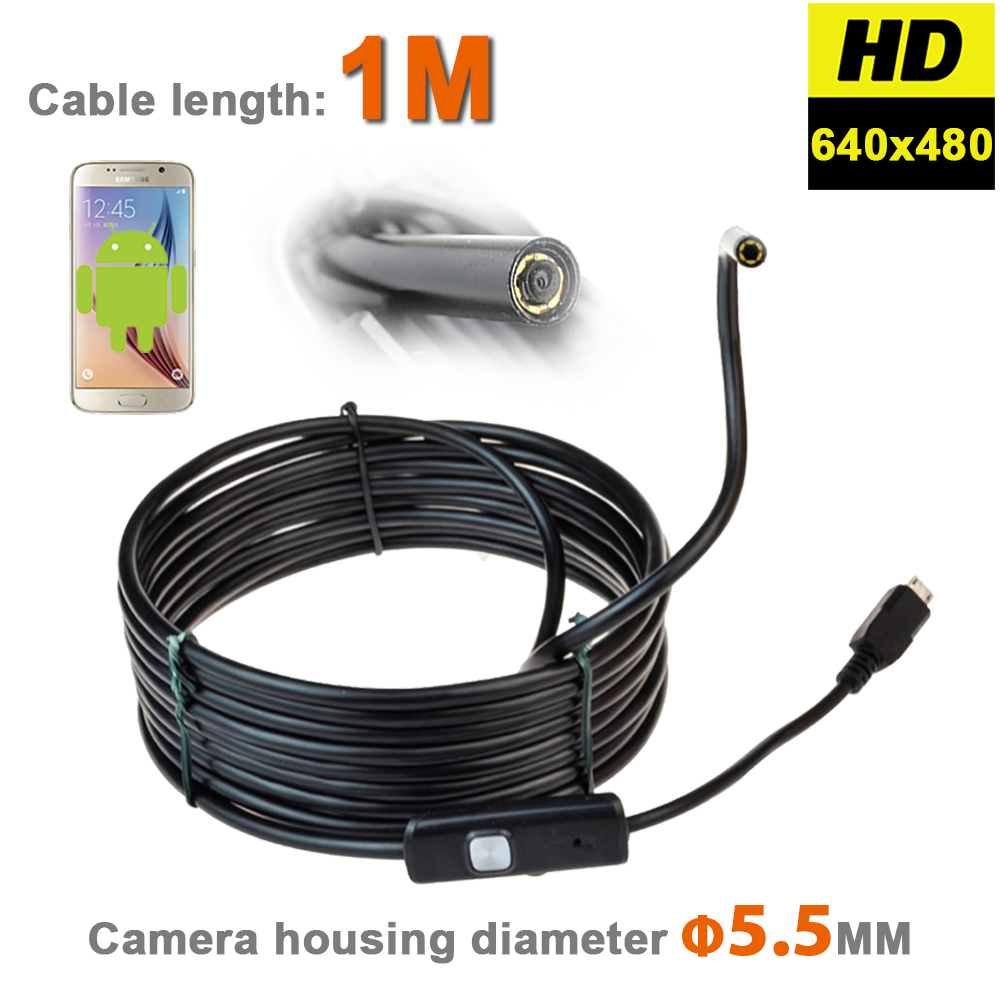 5.5MM Android USB Endoscope Mini Camera Focus Camera Lens With 1M USB Cable Waterproof 6LED Borescope Tube Inspection Camera(China (Mainland))