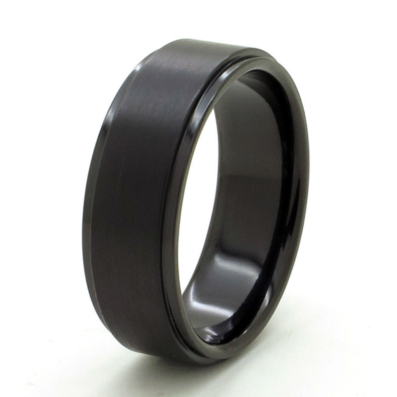 Tailor Made 8mm BLACK Stepped Edge Brush Titanium Anniversary Ring Size 3 -18 (#TR08B)<br><br>Aliexpress