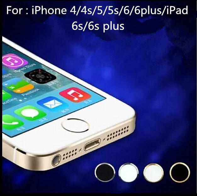 4pcs/lot Touch ID Metal Aluminum Home Button Sticker For iPhone 5 5S 6 6 plus ipad Boto para pegatina Fingerprint Identification
