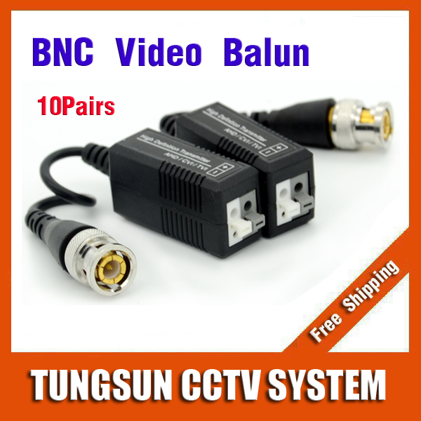 10Pairs BNC to UTP Cat5/5e/6 Video Balun HD Transceivers Adapter Transmitter Support 720P/1080P AHD/CVI/TVI Camera 300M(China (Mainland))