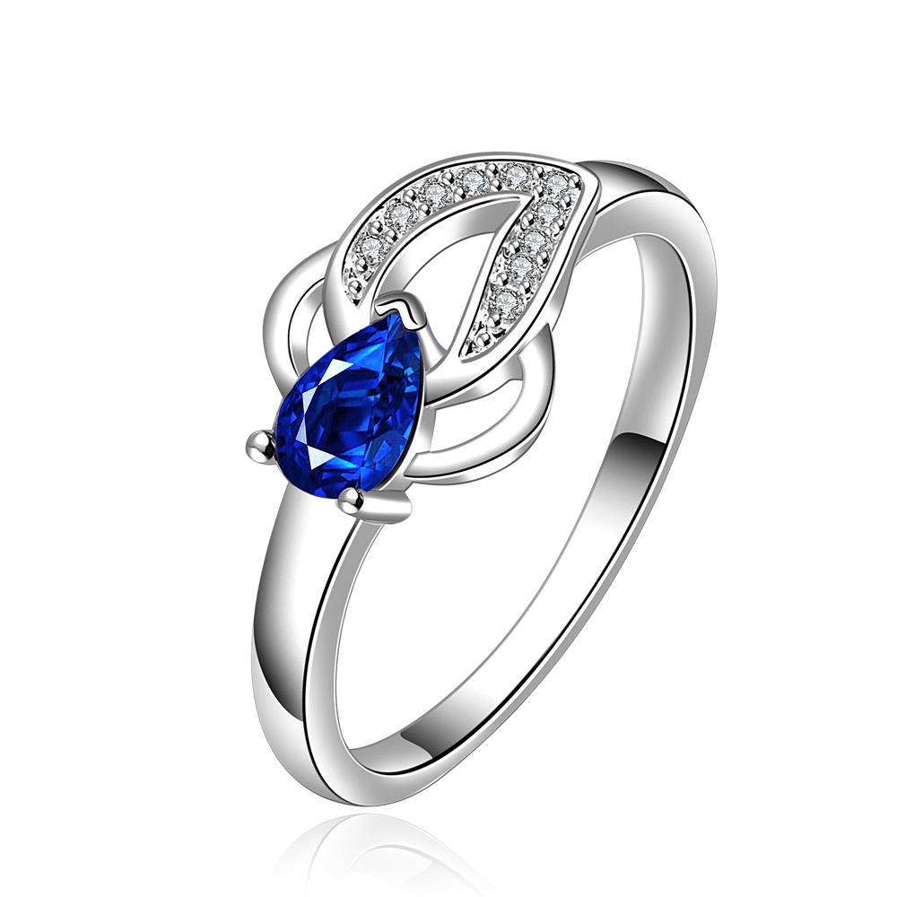 2015 High Quality Fashion Elegant Simple Enchanting Blue Water Drop Zircon Goldfish Rings Jewelry Classic Noble Engagement Rings(China (Mainland))