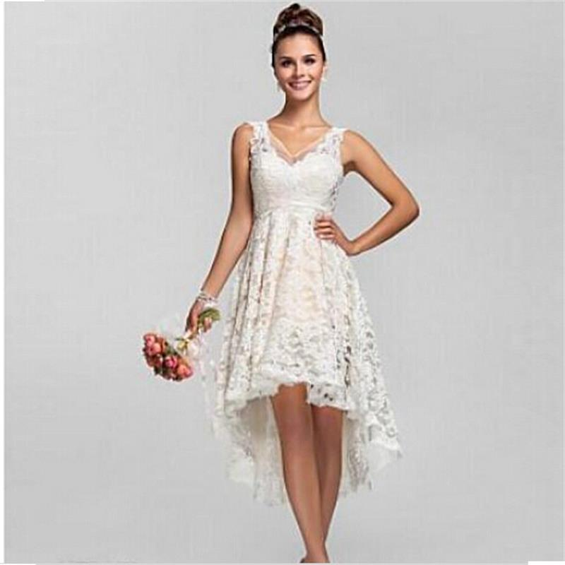2016 summer high low lace beach wedding dresses plus size for Free wedding dresses low income