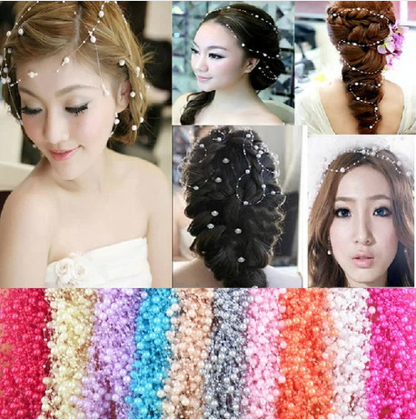 romantic fashion wedding bridal hair accessories headpiece ornament pearl 5 colors 120cm DIY jewelry free shipping(China (Mainland))