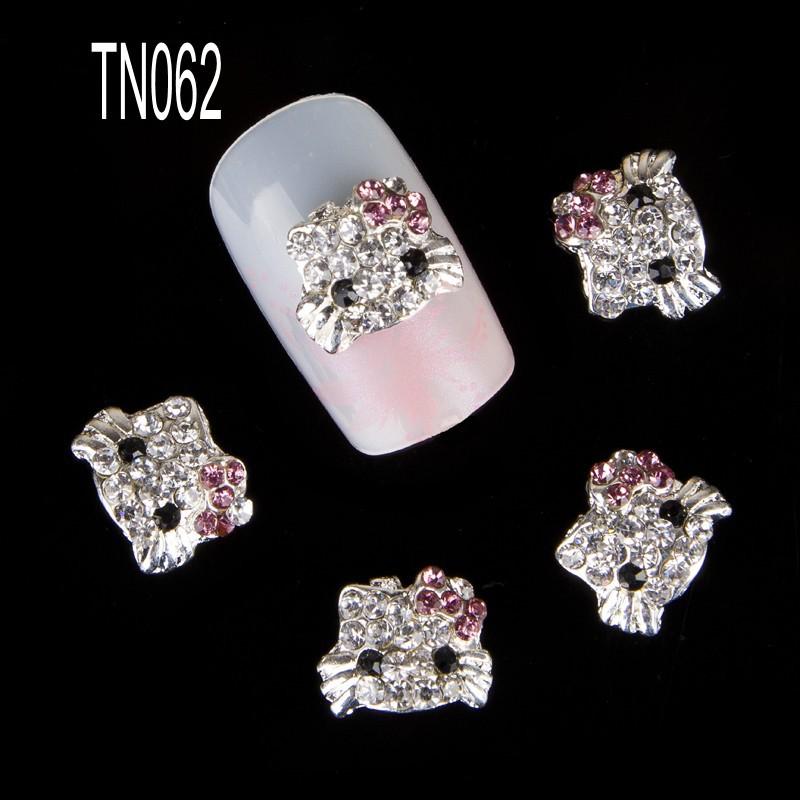 10pcs/pack Hello Kitty Shape 3D Nail Art Decorations Diamond Rhinestones Nails Art Glitter Jewelry for Nail Art Studs TN062(China (Mainland))