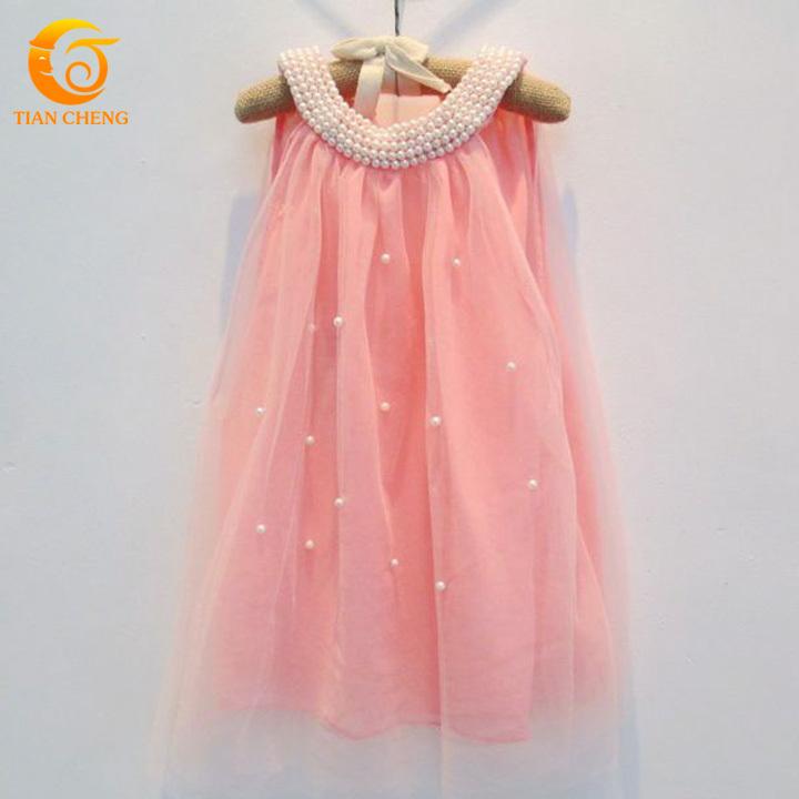 2015 Summer Pink Little Girls Dresses Cute Chiffon Pearls Teenage Girls Fashion Dresses Vestidos Para Menina Robe Adolescente(China (Mainland))