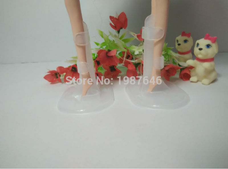 2016 Free transport, 10pcs/lot Doll Stand Show Holder For Barbie Dolls,doll equipment doll assist leg holders Clear
