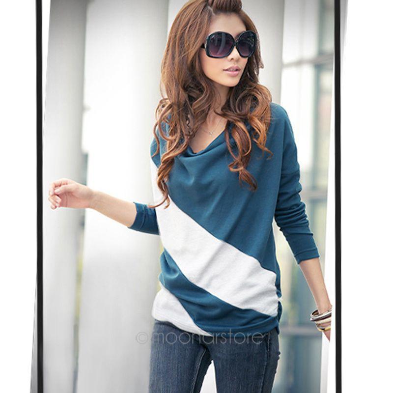 2015 новых прибыть дамы контрастные цвета рубашки с длинным рукавом плиссированные лоскутная полосатые блузки размер M-XXL 4 цвета JL * E3180 * 60