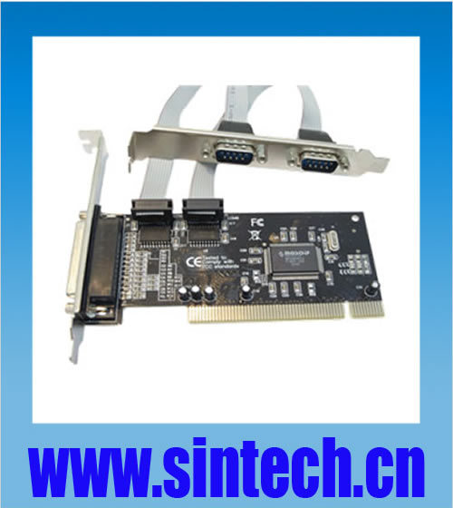 PCI 32bits to 2 ports DB9 serial RS232+1 parallel printer port card adapter converter,chipset MCS9865(China (Mainland))
