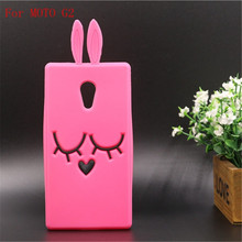 Cartoon Phone Case Motorola MOTO G2 G3 Lovely Rose Red Shy Rabbit Back Soft Silicon Material Protective Cover - Superseller 2014 store