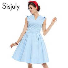 Buy Sisjuly women vintage dress summer elegant 1950s retro sleeveless dresses party style blue A-Line 50s V-Neck vintage dress 2017 for $12.73 in AliExpress store