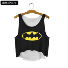 SexeMara Bat Mysterious Summer Fashion Women Crop Tops Sexy Tank Tops Vintage Tops Girls Shirt Black Personality Cropped F669(China (Mainland))