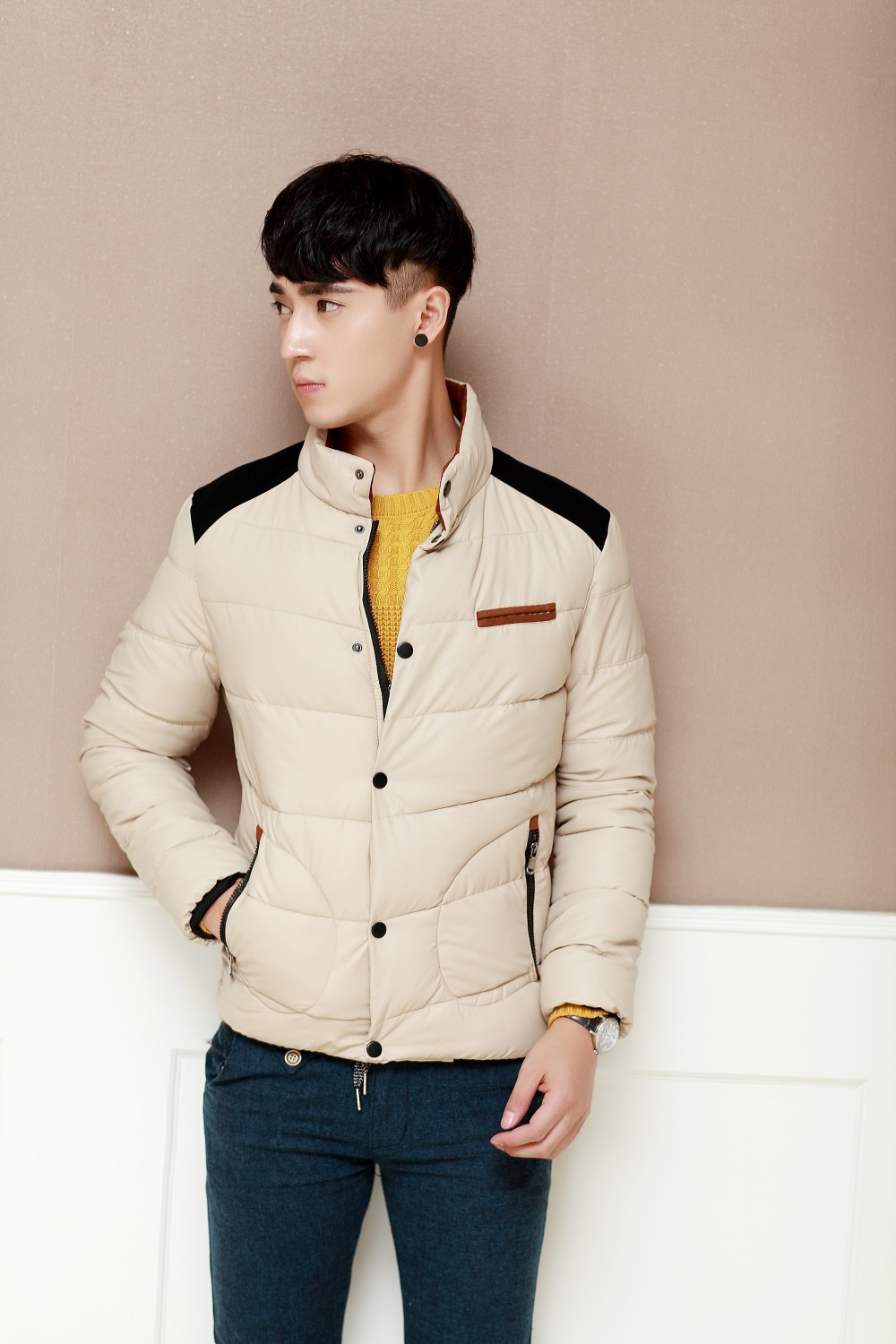 2015 men s winter clothes Korean men s fashion cotton padded stitching slim down
