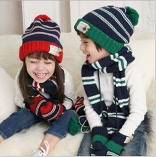 Quality goods Fashion Children Kids Stripe bear Winter Knitted wool Scarves caps 1pc scarf+1pc hat=1set 30sets/lot EMS DHL Free
