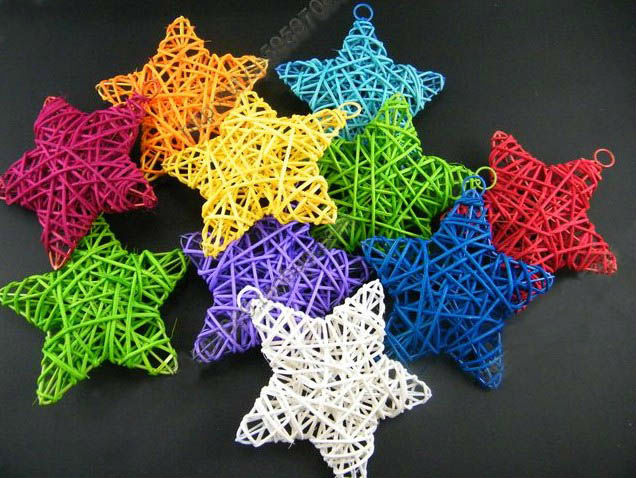 10cm special nice multicolors rattan crafts stars for Stars decorations for home