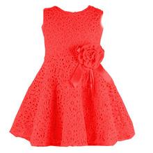 Retail NEW Summer girl dress,lace, bow princess dress, sleeveless fashion, elegant dress for girl, pink