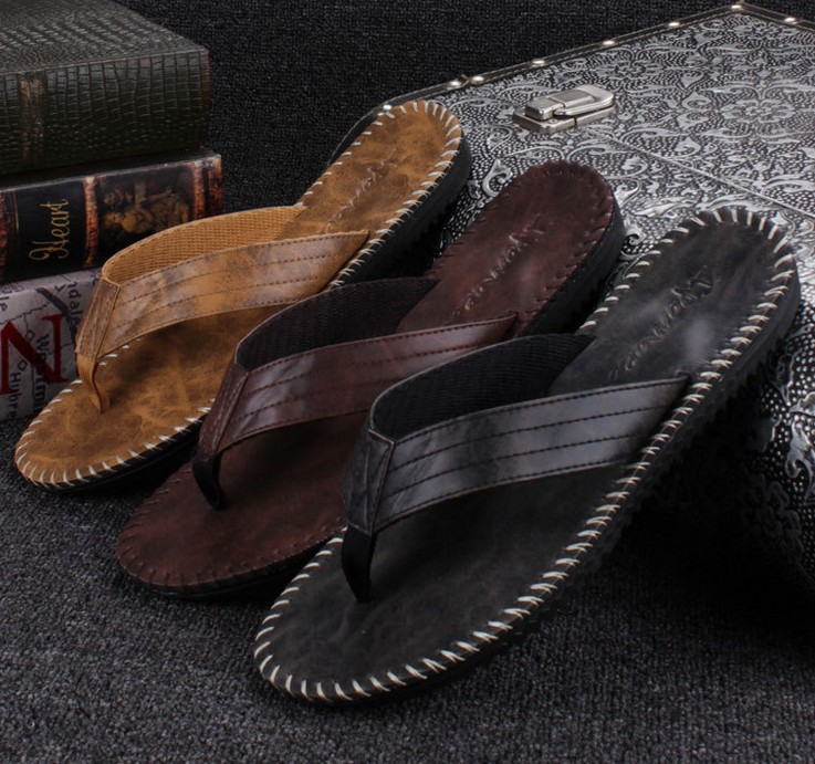 Leather sandals men slippers 2016 summer men's fashion sandals European and American style retro stitching process.(China (Mainland))