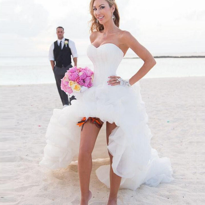 Best Quality Ivory Sweetheart High Low Wedding Dresses Short Style Bridal Gowns 2015 Custom Made Sexy Beach Wedding Dress(China (Mainland))