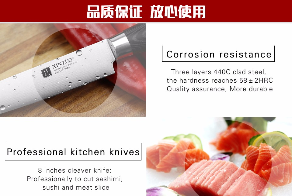 Buy XINZUO 8 inch cleaver knife three layers 440C clad steel kitchen knife micarta handle sashimi knife kitchen tackle free shipping cheap