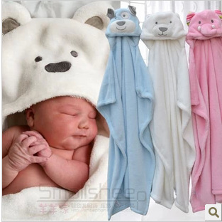 Free shipping Windproof infant blankets pack blankets with a hood cloak blanket animal head small coral fleece wool blanket(China (Mainland))