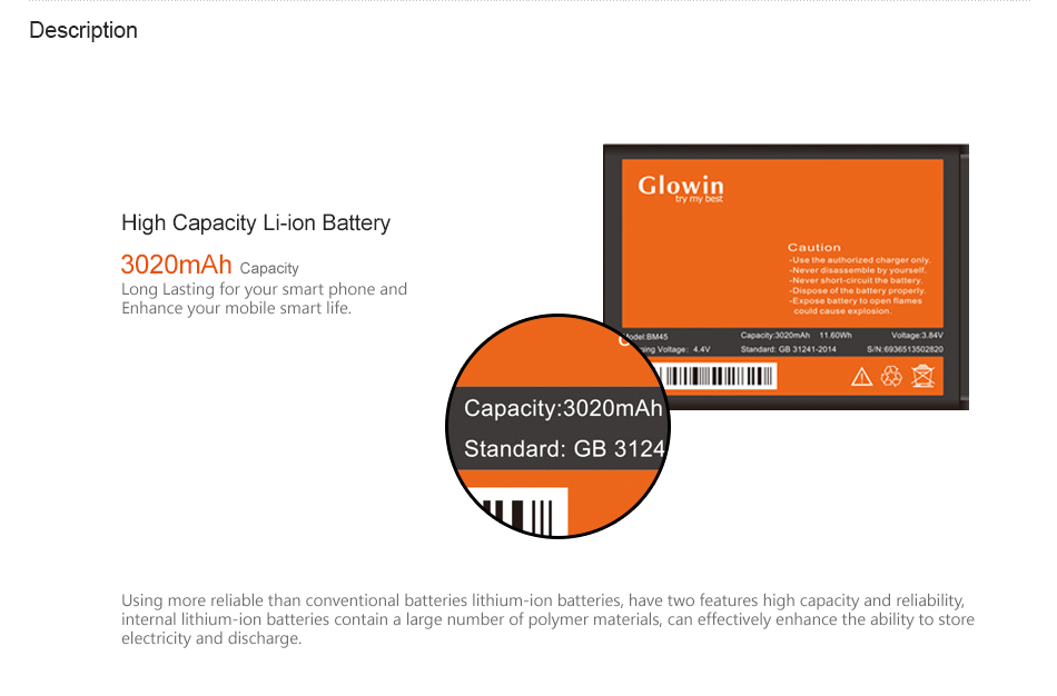 3020mAh BM45 Rechargeable Battery Mobile phone battery for Xiaomi HongMi Redmi Note 2